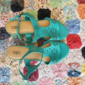 📍CATO TURQUOISE WEDGES, floral